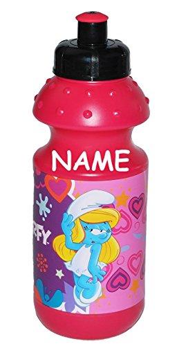 Unbekannt Trinkflasche Die Schlümpfe - Schlumpfine incl. Namen - Flasche für 550 ml auslaufsicher Kunststoff - für Mädchen Schlumpf Herzen Plastik Kinder