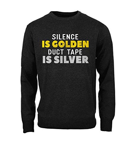 RiotBunny Silence is Golden Duct Tape is Silver Komisch Cool Herren Sweatshirt Pullover Schwarz XX-Large (Cool Tape Duct Fashion)