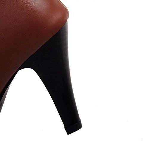 VogueZone009 Damen Ziehen Auf Hoch-Spitze Hoher Absatz Pu Leder Stiefel mit Rivet Set Braun