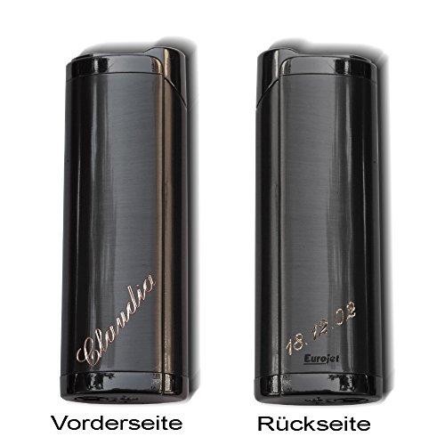 Feines Feuerzeug /Gasfeuerzeug Paris mit Jetflame : Gasfeuerzeug mit Gravur auf der Vorderseite: 1Vorname + auf der Rückseite: 1 Datum oder Wort .