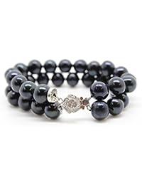 Damen-Armband mit schwarzen Perlen und Sterlingsilber - LUXELU LONDON BLACK  PEARL COLLECTION 7f49b92de4