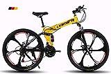 WSFF-Fan Bicicleta de montaña Bicicleta Plegable Rueda de 24-26 Pulgadas, Tres Opciones de Cambio (21-24-27), neumático Especial Todoterreno,Yellow,26' 27speedchange