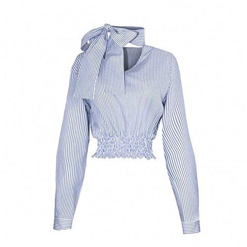 Sexy Halsband V-Ausschnitt Nackenschnürung Langarm Gestreiftes Gestreift Kurze Crop Bluse Hemd Shirt Oberteil Top Blau Blau