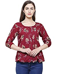 fa2a3d1c8e50a5 FLICKZON Women Maroon Crepe Balloon Sleeve Floral Printed Western wear top  with Plus Size top