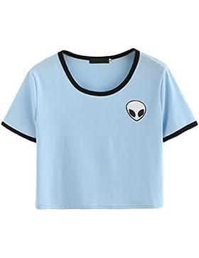 Kairuunn Mujeres de Verano Alien Imprimir Camisetas de Manga Corta Blusa Casual Suelta la Camiseta Crop Tops