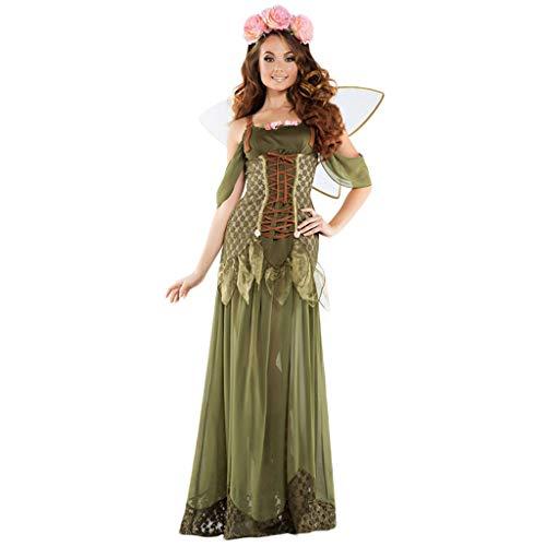 Für Frau Kostüm Elf - QWEASZER Frau Nachtclub Bar Bühne Performance Kostüm Elf Blumenfee Deluxe Prinzessin Verrücktes Kleid Kostüm Halloween Party Cosplay Kleid Kostüm,Green-M