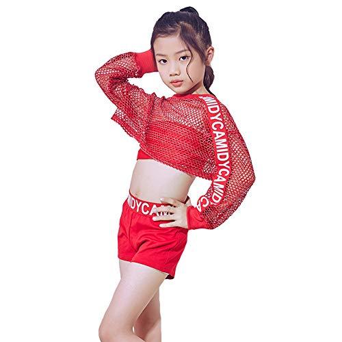 3 Stück Mädchen Rot Hip Hop Mesh Crop Top Jazz Dance Kostüm Bühnenkostüme