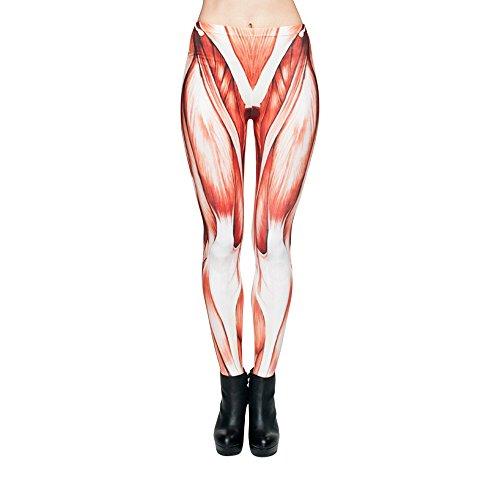 Hanessa Frauen Leggins Bedruckte Leggings Geschenk zu Weihnachten Hose Frühling Sommer Kleidung Muskeln Muskel-Gewebe statt Haut L83