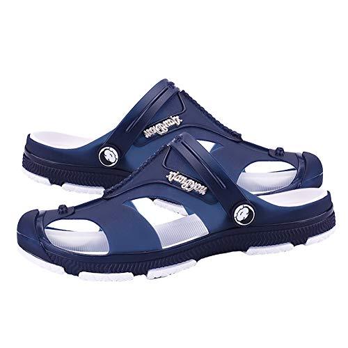 0Miaxudh Ciabatte, Uomo Scollo Posteriore con Cinturino Posteriore Zoccoli Scarpe con i Sandali Infradito, Pantofole da Spiaggia estive Dark Blue 45