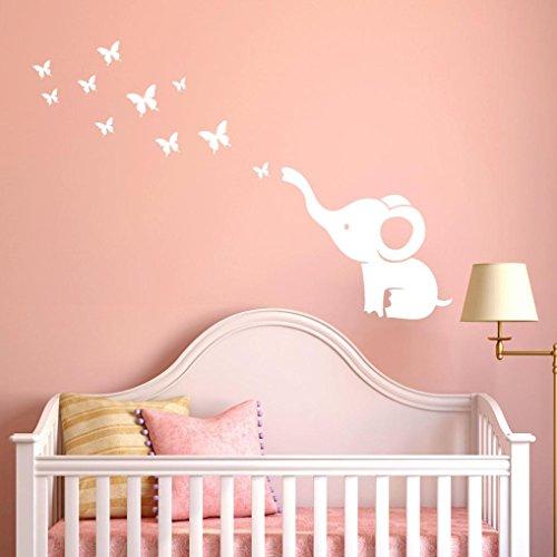 ❤️Pegatinas de pared❤️Dragon868 DIY mariposa y elefante pegatinas de pared para bebés niños decoración del sitio (blanco)