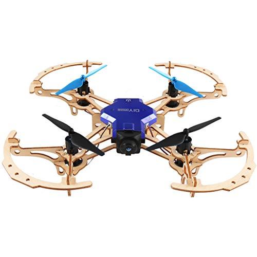 Webla Avions en Bois À Quatre Axes Télécommande Caméra HD Bleu Zl100 Bricolage Quadricoptère en Bois À Distance avec Caméra HD Vidéo Avion
