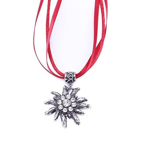 Trachtenkette, Oktoberfest Edelweiß Trachten Halskette Trachtenschmuck mit Edelweiß Anhänger (Lederhosen Deutsch Kostüm)