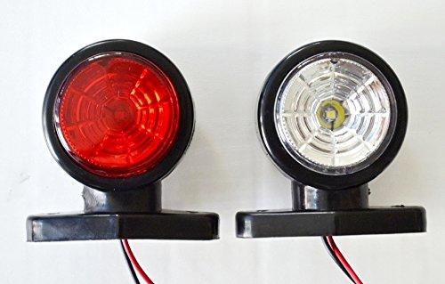 Fushengda 10/Pcs Blanc Rouge 12/V Del C/ôt/é Feux de gabarit Position d/éclairage Avant Arri/ère C/ôt/é Indicateur de Lampes pour remorque Camion Caravane Camper Van Camion Bus Bateau Tracteur.