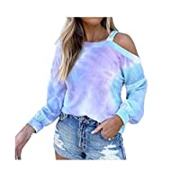 DUe Women Sweatshirts Long-Sleeve Printing O-Neck Tie-Dye T-Shirt Blue XL