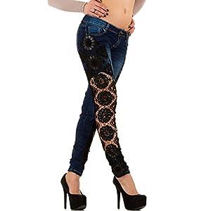 Damen Jeans, MOZZAAR CUT OUT SPITZEN SKINNY JEANS, KL-J-C746