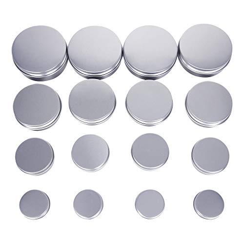 Cremedose Leer Schraubdose Blechdose 16 Stück,Alu-Dose Behälter für Kosmetik,4 Modelle 4 pro Modell(100ml,60ml,30ml,15ml) - Haltbare Aluminium-metall -