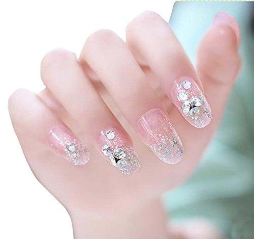 24pcs Faux ongles mariée décorée Nail Art colle Retour