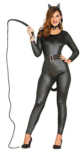 Stadt Katze Kostüme Party (sexy Katzen Lady Superheldin Karneval Party Kostüm für Damen schwarz Cat Gr. S-L,)