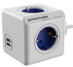 allocacoc PowerCube DuoUSB Original, 4x Verteiler mit 2x USB, 230V Schuko