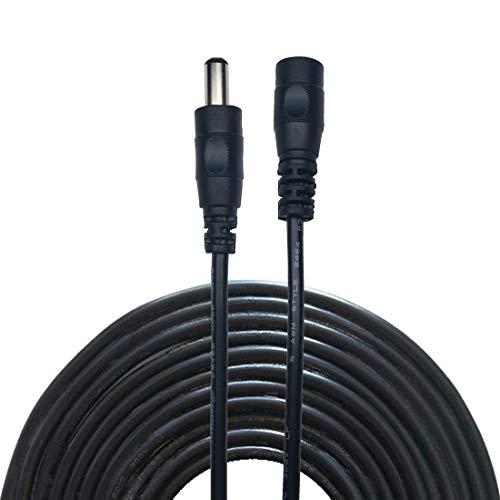 Liwinting 10m Cable de extensión Plug DC 2,1 mm x 5,5 mm Macho a Hembra Conector para Adaptador de Corriente, LED, Cámara CCTV Potencia, Coche, monitores y más, Flexible, Negro