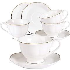 Idea Regalo - Set di 4 Tazzine e Piattino per Cappuccino - 7OZ Stile Vintage, Porcellana Bianca, Perfetto per Cappuccino, Caffè, tè, New Bone China Set per Tazza da tè e Caffè