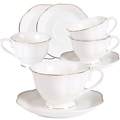 7OZ Cappuccino Tassen Set Porzellan - 220ML Weiß Kaffeetassen mit Untertassen Set Tee Cups mit Gold Rand Geschenk Bone China Teeservice für 4er China-tee-party