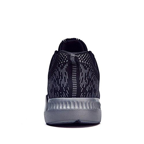 HooH Scarpe Sportive di Leggero Assorbimento Urti Il Casuale Basse Uomo Scarpe Sportive Invernali in Esecuzione Nero