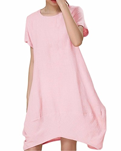 ZANZEA Femmes Grand Taille Manches Courtes Casual Baggy Longue Tunique Tops Kaftan Shirt Robe Rose