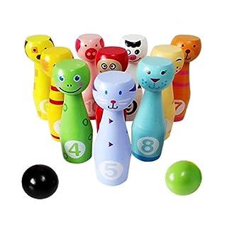 Lewo Bowlingkugel Bowling-Set Kege Garten Rasen Spiel Holzspielzeug pädagogische Interaktive Spielzeug Stapeln Blöcke für Kinder