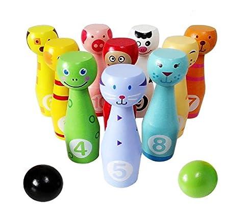 Lewo Jeux de Quilles Bowling en Bois Jouets de Société avec 10 Quilles et 2 Bowling Boule pour les Enfants 3 Ans et Plus