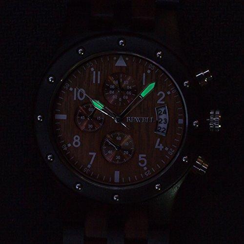 Bewell Multifunktions Große Luminous Herren Holzuhr Schwarz und Rot Wasserdichte Runde Analog Quarz Business Armbanduhr mit Datum Licht Stoppuhr - 6