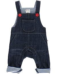 Piccalilly algodón orgánico azul bebé Niños Denim peto