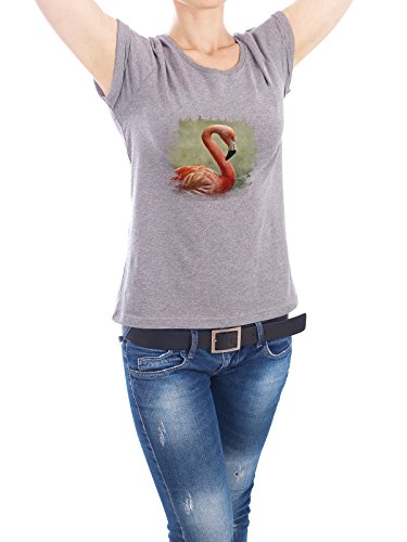 "Design T-Shirt Frauen Earth Positive ""Flamingo Royal"" - stylisches Shirt Tiere von AD Design Grau"
