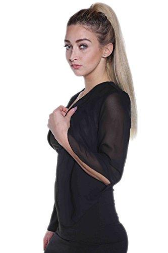 BOLERO CHIFFON - sposa BOLERO - Moda Donna - Nuova con etichetta - fino a 3XL nero