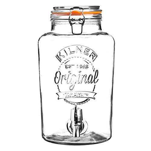 KILNER Clip Top 8litros dispensador de Bebidas de Cristal Redondo en Caja de Regalo, Transparente