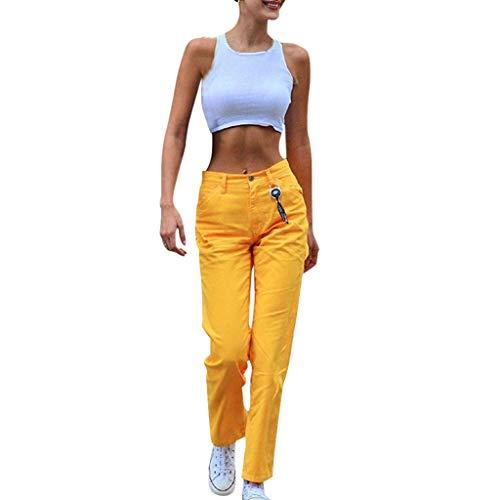 Biker Kostüm Party City - Younthone Damen Hose, Weite Anzughose, Damen City Sport Premium Five Pocket Uni Hose(Gelb,M)