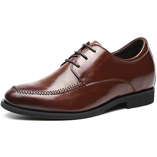 Chamaripa scarpe con rialzo da uomo pelle che aumentano l'altezza stringate eleganti nero fino a 7 cm - h72x70y351d