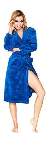 Luxe Femmes Courte, Coton Robe de Chambre Avec Motif Floral Saphir