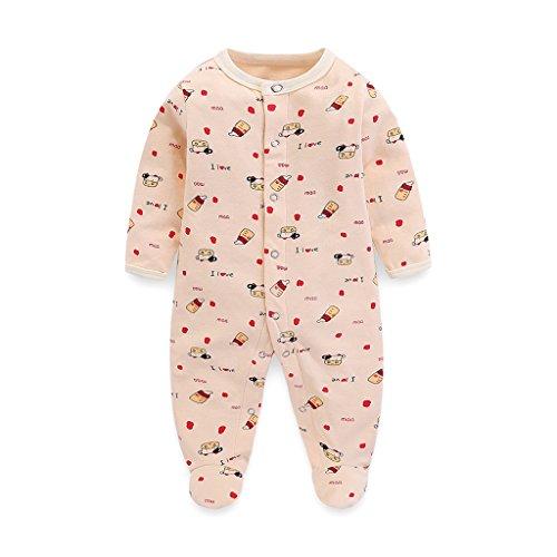 Baby Strampler Pyjama Footie Junge Mädchen Langarm Baumwolle Overalls Schlafanzug 3-6 Monate