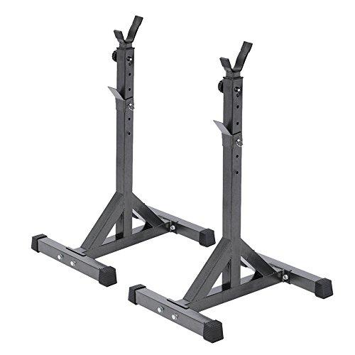 Docooler Coppia di Porta Bilanciere Regolabile Standard Solido Acciaio Staccabile per Fitness Exercise 111.5 - 141.5cm