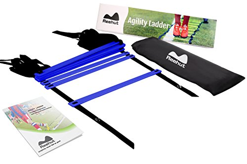 Reehut Koordinationsleiter w TRAGETASCHE - Geschwindigkeitstraining Ausrüstung Für Hohe Intensität Fußarbeit (Blau,8 Sprosse) (Tragetasche Ausrüstung)