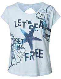 Petrol Industries - T-shirt de filles manches courtes chemise étoiles impression, bleu clair - TSR065