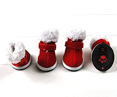 SMALLLEE_LUCKY_STORE Small Dog Shoes Warm Christmas Walking Snow Boots Puppy Booties Winter Red