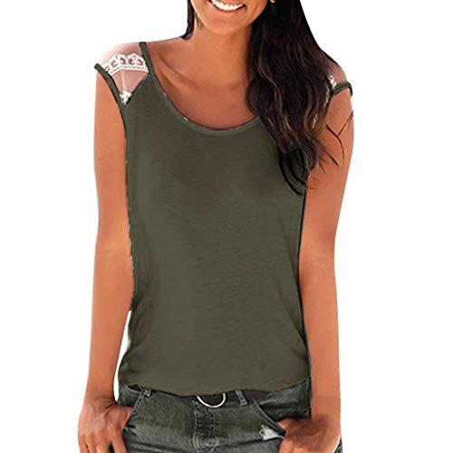 CAOQAO Oberteile Hemd Lose Shirt LäSsige Damen BeiläUfige Feste Strand-Spitze Sleeveless O Ansatz Oberseiten T-Shirt Bluse