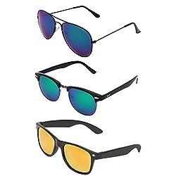 Zyaden Combo of 3 sunglasses Aviator, Clubmaster & Wayfarer Sunglasses - COMBO-2245