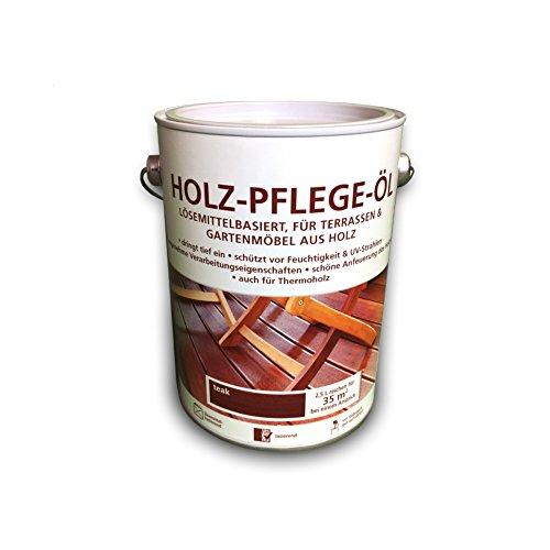Holz Pflegeöl - 2,5 Liter - Holzöl - Teak - für innen und außen - geeignet für Möbel, Treppen, Parkett, Holz-Boden, Terrassen - Holzschutz - Schutzschicht - LAGERWARE