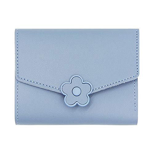 Vnlig Portafoglio Donna Simple Short Fashion Personality Fiore Multi-Card Portafoglio Sweet Lady Wild (Color : Blue)