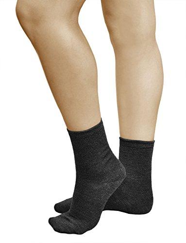 3 Paar Damen Wollsocken, PREMIUM MERINO WOLLE, Klimaregulierende Wirkung, Vitsocks Classic, 39-42, dunkelgrau (Wollsocken Dünne)