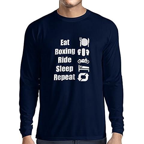 T-Shirt Manches Longues Homme Eat Sleep Boxing Repeat - pour les combattants et les cavaliers (XX-Large Bleu