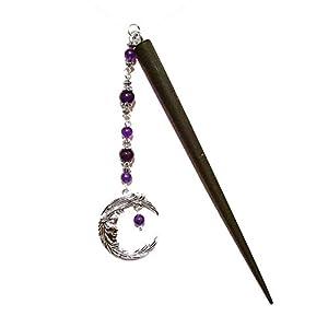 Haarstab aus Schwarzem Holz mit lila Quarz & Halbmond Anhänger